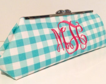 Monogrammed gingham Clutch