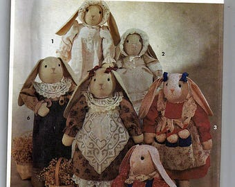 """Bunny With Clothes 23"""" (58.5cm) Tall / Original Simplicity Crafts Uncut Sewing Pattern 7770"""