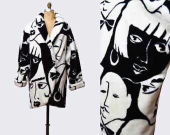 Vintage 90s Black and White Faux Fur Jacket Deco Face Print Fake Fur Coat Vegan Bohemian Furry Glam Fuzzy Jacket 1990s Hipster Boho medium