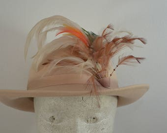 on sale Vintage DOESKIN ladies wool felt HAT with FEATHER band 1950's earlier