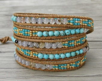 bead wrap bracelet boho bead bracelet bead leather bracelet turquoise wrap bracelet gypsy leather wrap bracelet seed bead bracelet SL-0289