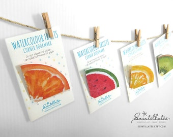 Watercolour Fruits Corner Bookmark / Page Marker - Watermelon/Kiwi/Orange/Lemon