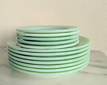 Fire King Jadeite Restaurant Ware Plates, Vintage Jadeite Dishes Plate Set, Fire King Collectible Glassware, Green Milk Glass Plate