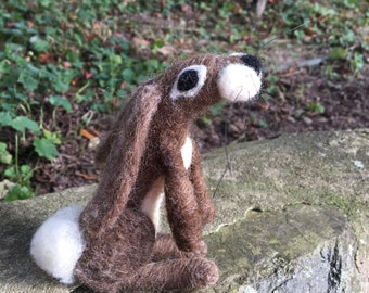 Needle Felted Soft Sculpture Moon Gazing Hare