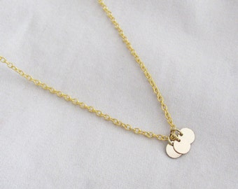 Three Gold Coins Necklace - Simple Necklace -14k Gold Filled Coins Necklace - Dainty Necklace - Thin Necklace - Bridesmaid Necklace