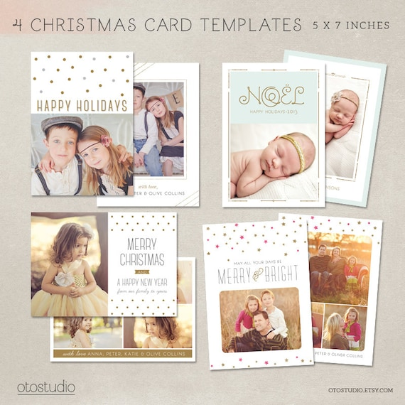 Digital Photoshop Christmas Card Template For Photographers - Christmas card templates for photographers 2