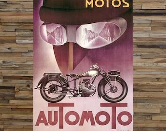 Automoto Motorcycle Vintage Ad,  Vintage Art, Vintage Motorcycle Print,  Giclee Art Print, fine Art Reproduction