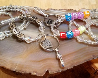 Jeep Girl beaded lanyards featuring a hand stamped charm crystals and so much more silver letters or colorful letters ..... your choice