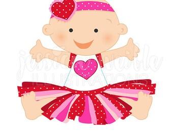 Valentine Tutu Baby Clip Art, Cute Digital Clipart, Valentine Baby Clip art, Tutu Graphics, Illustration, #1694