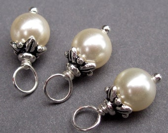 Cream Swarovski Crystal Pearls Wire Wrapped Dangles Charms with Flower Bead Caps 6mm