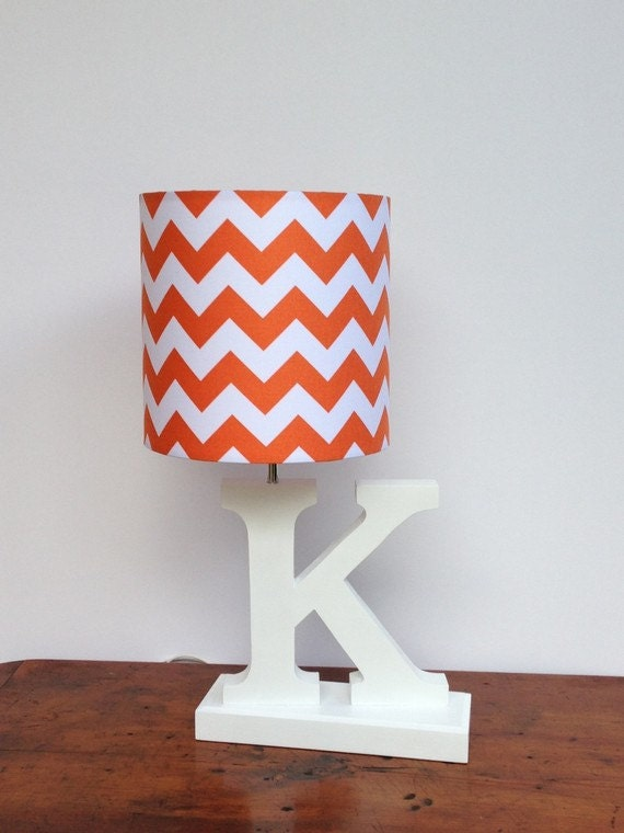 Small orangewhite chevron drum lamp shade nursery like this item aloadofball Images