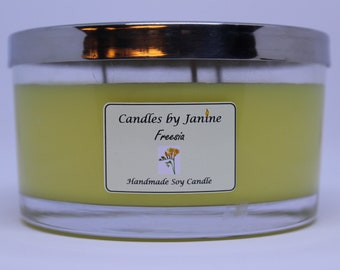 Triple wicked Freesia scented candle