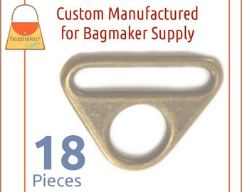 """1.5 Inch 38 mm Triangle Double Rings, Slot & Hole Loop Buckle, Antique Brass / Bronze Finish, 18 Pack, Handbag Hardware, 1-1/2"""", RNG-AA303"""