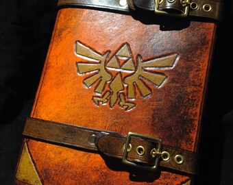 Leather Zelda Triforce journal - day planner - book cover
