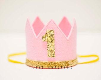 Pink Birthday Crown, One Birthday Crown, First Birthday Crown, Girl First Birthday Crown, Little Princess Birthday Crown, Pink Gold Crown