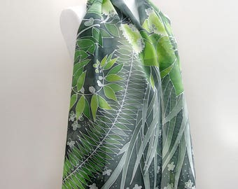 Forest scarf - green silk scarf hand painted - fern snowball tree white flowers, Solomon's seal - elves cape - leaf scarf st. Patrick gift
