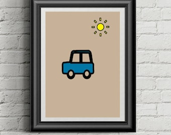 Car Print for the Nursery or Kids Bedroom, Boys Car Poster, Minimalist Blue Car, Baby Shower Gift Idea, Decoration for Baby Room, Digital