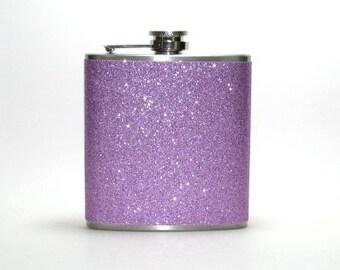 Lavender Sparkly Glitter 6 oz Size Stainless Steel Liquor Hip Flask Flasks Weddings Bridesmaids