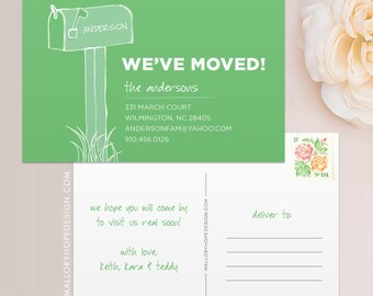Mailbox Moving Announcement Postcard / Magnet / Flat Card - New Home Card, New Address Card, New Home Announcement, Change of Address Card