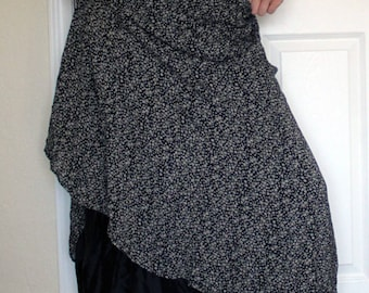 Black and White long calico skirt
