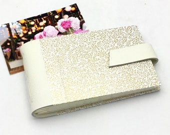 Wedding Mini Photo Album, Ivory Leather and Gold, Anniversary Gift, Personalize It