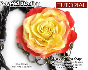 Polymer Clay Tutorial, DIY Jewelry, Flower Pin, DIY Flowers, Clay Flowers, Polymer Clay Beads, Flowers Tutorial, DIY Handmade Bead, Video