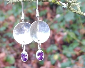 Hammered Disc Dangles w/ Oval Purple CZ Gem * Rustic * 925 Sterling Silver * Handmade * Circle Earrings * Hammered Disc * Dangles