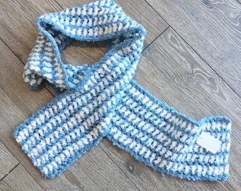 Crochet Scarf, Winter Scarf, Blue Scarf. Striped Scarf, Scarf for Men or Women and Boys or Girls, Handmade & Designed by Bahde in Canada