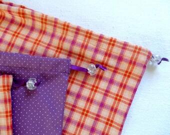 Lot de 3 sacs à vrac pour des courses zéro déchet  / madras orange et pois violets