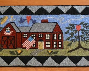 "14"" x 29"" Rug Hooking Kit - ""Irene's Farmhouse"""