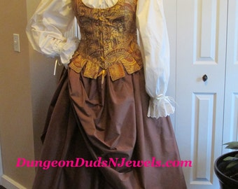 DDNJ 4pc Choose Fabrics Reversible Corset Style Demi Overbust Bodice w/tabs Chemise Skirt Plus Custom Made ANY Size Anime Costume Medieval