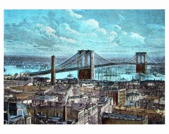 Brooklyn Bridge, New York City NY REPRODUCTION Vintage Postcard R054071