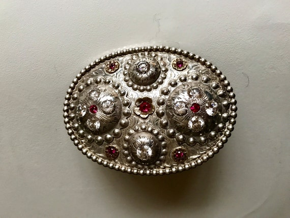 1920's Sterling Silver and 14K Gold Hand Tooled Trophy Buckle with Rubies and Zircon - Rodeo Buckle