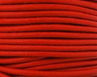 Round leather strap, 2mm red coral, sold by 20 cms
