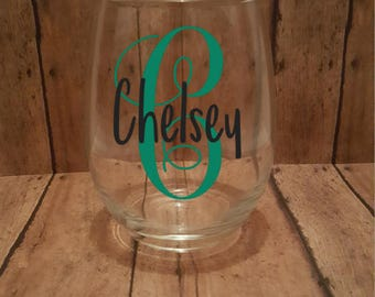 Stemless Wine Glass, Initials, Personalized Wine Glass, Wine Glass With Monogram, Customized Wine Glass With Initials