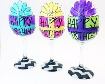 Birthday Glass / Birthday Gift / Black White Chevron / Painted Glassware / Custom / Personalized /  audrastyle