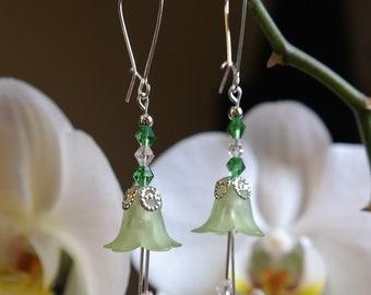 Green Fairy Flower Earrings