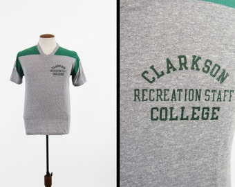 Vintage 80s Clarkson College T-shirt Recreation Staff Heather Gray V Neck - Medium / Large