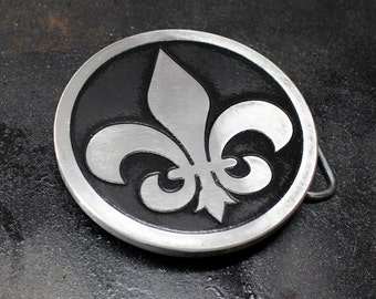 Fleur De Lis, NOLA, Custom Belt Buckle, Etched Metal, French, Louisiana, Bayou, Creole, Cajun, New Orleans, French, France