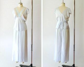1930s lingerie / 30s art deco blue satin pajama set / size medium