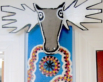 MOOSE HEAD sculpture, James Harold Jennings vintage outsider art wall decor, NC visionary artist, 1980s