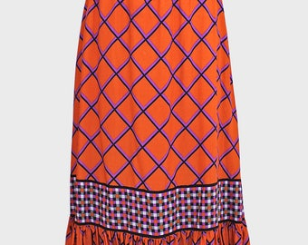 vintage orange maxi skirt. bright orange purple black check skirt - ruffle hem maxi length - uk12 size 12 medium - grid print checked