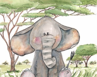 Cute Elephant Wall Art - Safari Nursery Wall Art - Jungle Nursery  Watercolor Elephant Art Print - Baby Animal Print - 6 sizes, 5x7 to 24x36