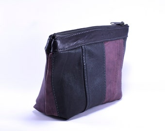 Pink and black, upcycled travel pouch from repurposed leather