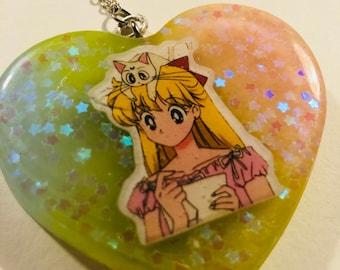 Sailor moon sparkle rainbow keychain
