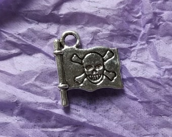 3 x Tibetan Silver Jolly Roger Pirate Charms- for Jewellery Making and Crafts