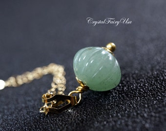 Gold Filled Green Aventurine Necklace, Stone Pumpkin Necklace - Green Stone Healing Necklace, G Yoga Necklace