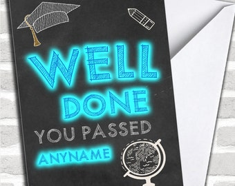 Neon Chalk Well Done Exams Personalised Good Luck Card