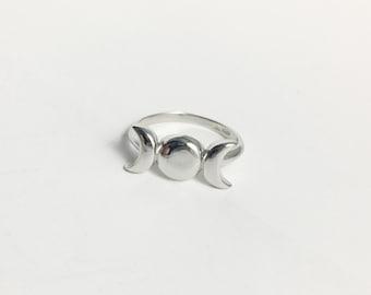 925 Silver Triple Goddess Ring