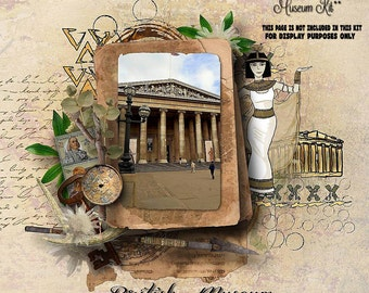 Museum Theme Scrapbook Kit 22 x papers and 50 x Embellishments